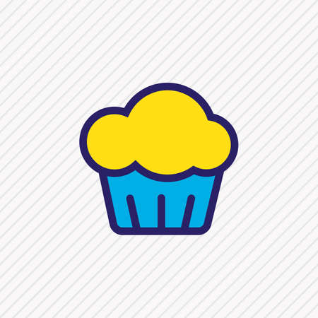 Vector illustration of cupcake icon colored line. Beautiful celebration element also can be used as muffin icon element.