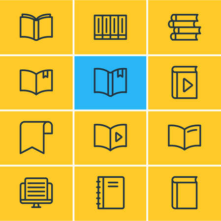illustration of 12 book icons line style. Editable set of publication, publish, textbook and other icon elements.
