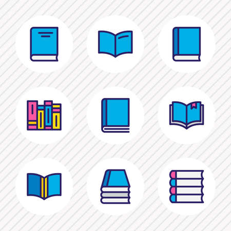illustration of 9 read icons colored line. Editable set of schoolbook, read, encyclopedia and other icon elements.