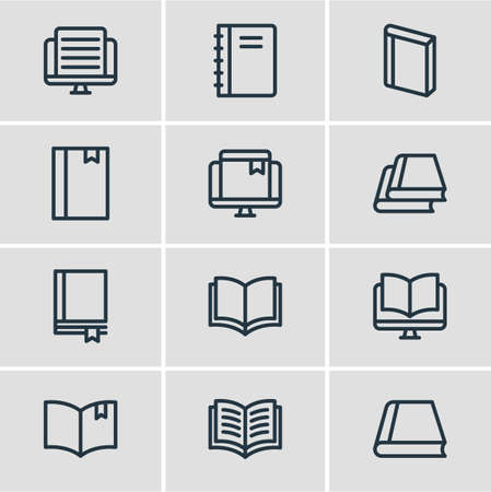 illustration of 12 read icons line style. Editable set of library, book reading, study and other icon elements.