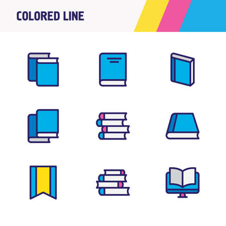 illustration of 9 book icons colored line. Editable set of book, publish, information and other icon elements.