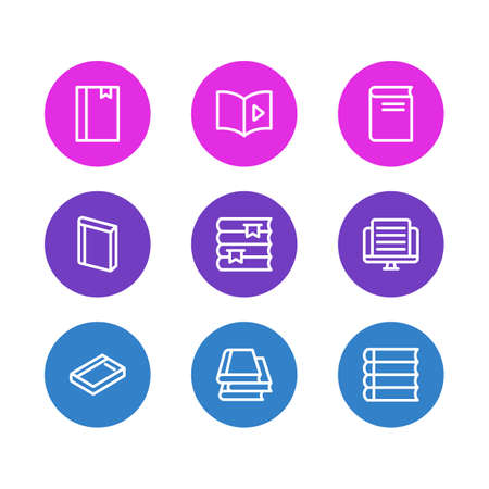 illustration of 9 book reading icons line style. Editable set of schoolbook, novel, article and other icon elements.