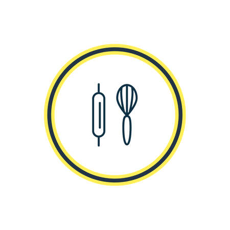 Vector illustration of baking icon line. Beautiful activities element also can be used as whisk with rolling-pin icon element. Фото со стока