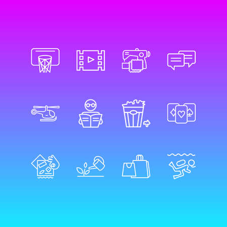 Vector illustration of 12 hobby icons line style. Editable set of sewing, shopping, chatting and other icon elements. Stock Photo