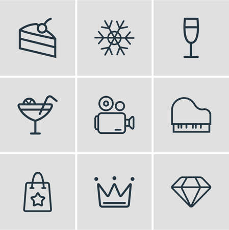 Vector illustration of 9 event icons line style. Editable set of diamond, piece of cake, snowflake and other icon elements. Standard-Bild - 109635790