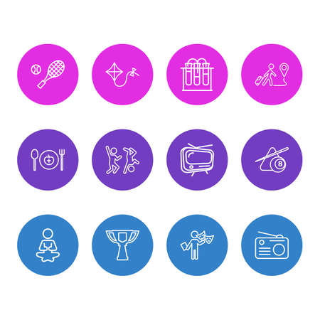 illustration of 12 lifestyle icons line style. Editable set of travelling, chemistry, tv and other icon elements.