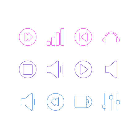 illustration of 12 music icons line style. Editable set of previous, volume down, cd and other icon elements.
