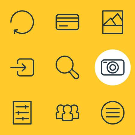 Ilustración de vector de estilo de línea de iconos de aplicación 9. Conjunto editable de cámara, tarjeta de crédito, menú y otros elementos de icono.