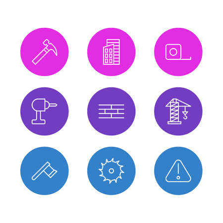 Vector illustration of 9 construction icons line style. Editable set of crane, hammer, ruler and other icon elements.