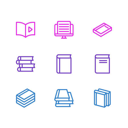 illustration of 9 book reading icons line style. Editable set of audio book, novel, literature and other icon elements.