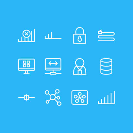 Illustration vectorielle de style de ligne 12 icônes internet. Ensemble modifiable sans connexion, administrateur, sécurité et autres éléments d'icône.