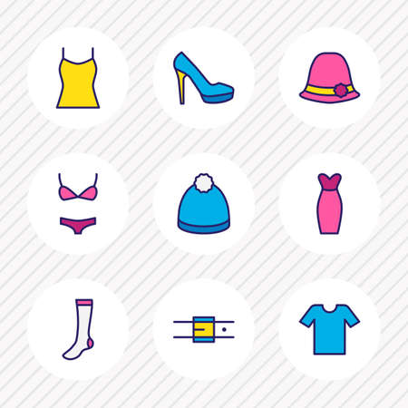 Vector illustration of 9 clothes icons colored line. Editable set of t-shirt, women shoe, evening dress and other icon elements. Illustration