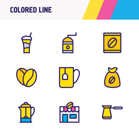 Vector illustration of 9 coffee icons colored line. Editable set of french press, coffee bean, coffee mill and other icon elements.