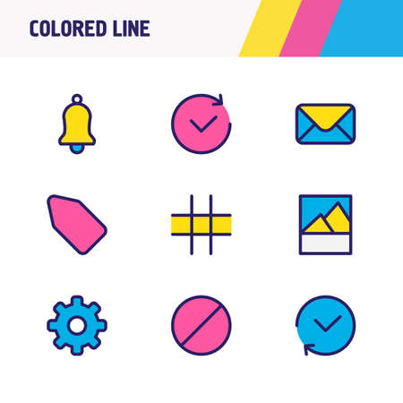illustration of 9 annex icons colored line. Editable set of tag, grid, mail and other icon elements.