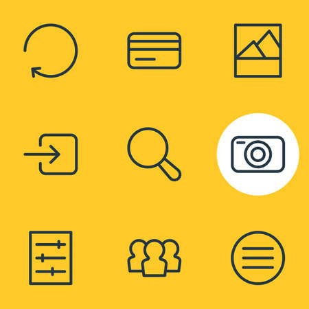 illustration of 9 annex icons line style. Editable set of camera, credit card, menu and other icon elements.