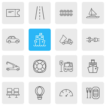 Vector illustration of 16 transport icons line style. Editable set of car, dump truck, train ticket and other icon elements.