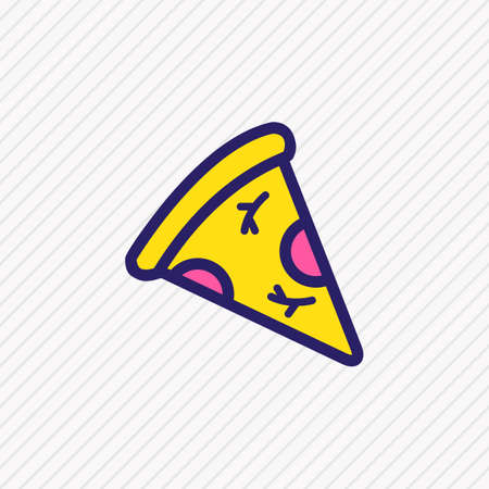 Vector illustration of piece of pizza icon colored line. Beautiful event element also can be used as slice pepperoni icon element.