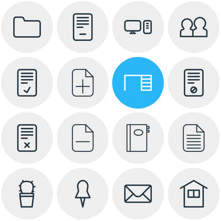 Vector illustration of 16 workplace icons line style. Editable set of deleting, remove, team and other icon elements. Иллюстрация