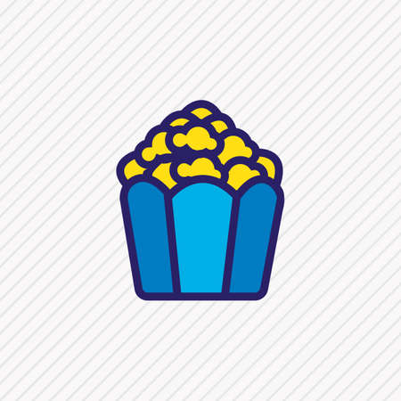 illustration of popcorn icon colored line. Beautiful celebration element also can be used as cinema snack icon element.
