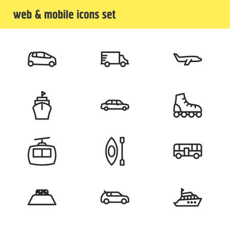 Vector illustration of 12 vehicle icons line style. Editable set of ship, plane, kayak and other icon elements.