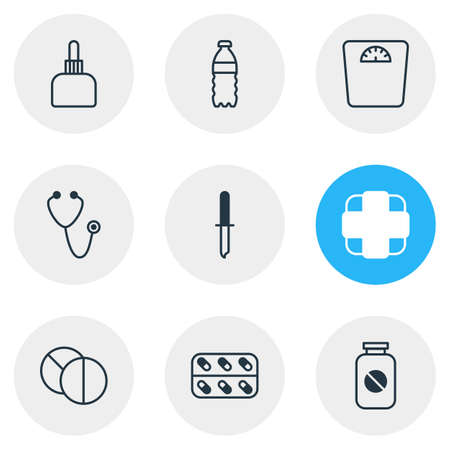Vector illustration of 9 medicine icons line style. Editable set of stethoscope, capsule, medication and other icon elements. 矢量图像