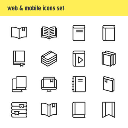 illustration of 16 education icons line style. Editable set of textbook, bookshelf, bookstore and other icon elements.