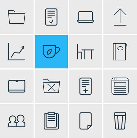 illustration of 16 office icons line style. Editable set of confirm, workplace, notebook and other icon elements.