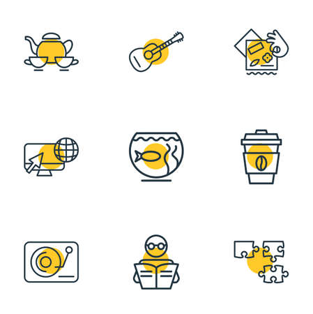 illustration of 9 lifestyle icons line style. Editable set of puzzle, scrapbooking, tea set and other icon elements.