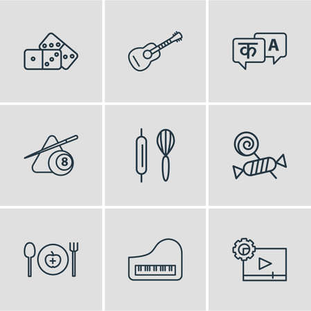 Vector illustration of 9 lifestyle icons line style. Editable set of guitar, baking, domino and other icon elements.