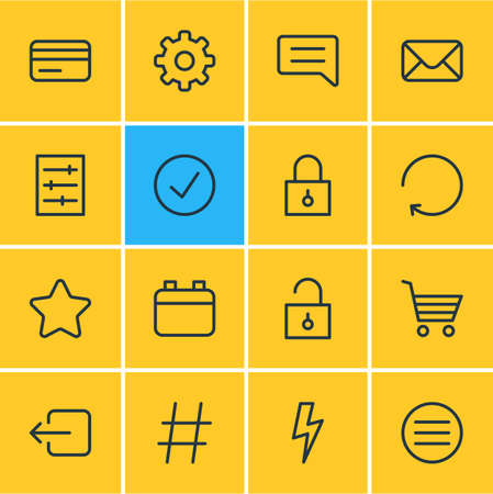 illustration of 16 app icons line style. Editable set of comment, credit card, calendar and other icon elements.