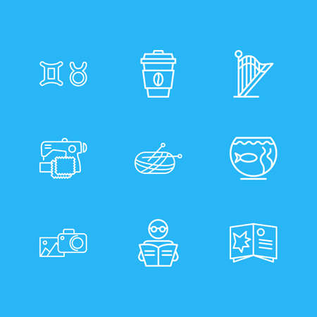 illustration of 9 activities icons line style. Editable set of sewing, aquarium, reading and other icon elements.