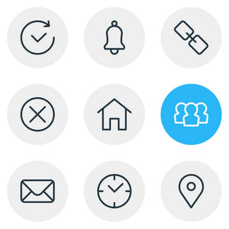 illustration of 9 annex icons line style. Editable set of home, user, time and other icon elements. 版權商用圖片