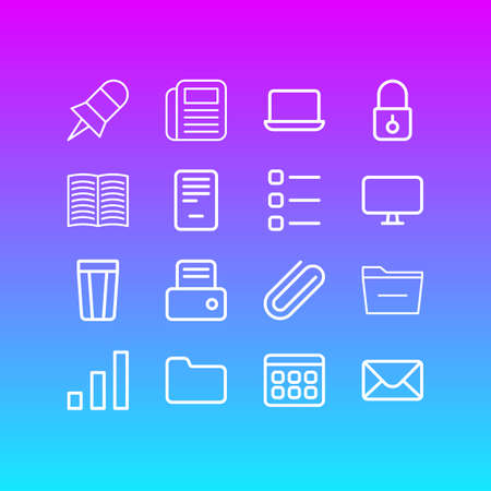 Vector illustration of 16 workplace icons line style. Editable set of printer, monitor, list and other icon elements.