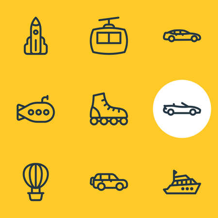 illustration of 9 transit icons line style. Editable set of yacht, roller skates, cabin and other icon elements. Archivio Fotografico