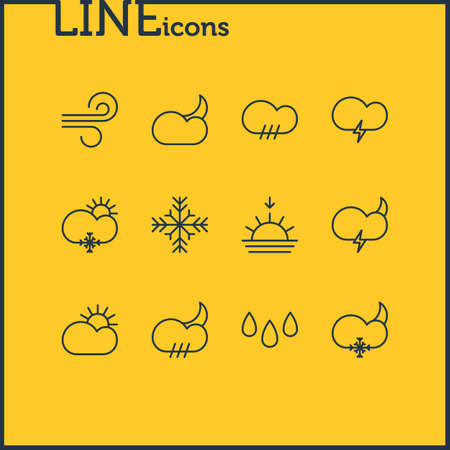 Vector illustration of 12 atmosphere icons line style. Editable set of crescent, rain, sunny and other icon elements. 일러스트
