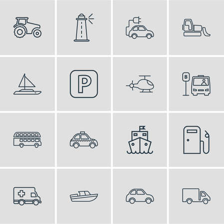 illustration of 16 transportation icons line style. Editable set of eco car, cruise ship, bus station and other icon elements.