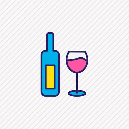 Vector illustration of wine bottle icon colored line. Beautiful lifestyle element also can be used as wineglass icon element.