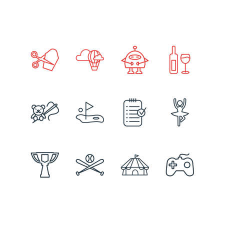 Vector illustration of 12 lifestyle icons line style. Editable set of making toy, cirque, game console and other icon elements.