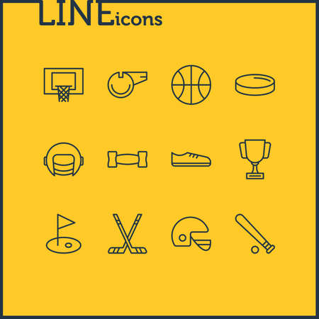illustration of 12 athletic icons line style. Editable set of basketball, sticks, championship and other icon elements.