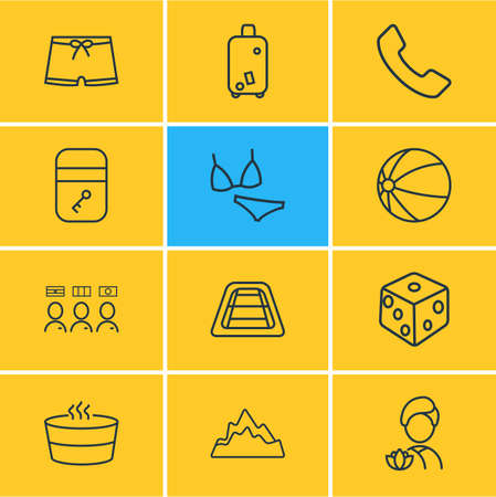 Vector illustration of 12 tourism icons line style. Editable set of spa, hotel room, men swimwear and other icon elements.