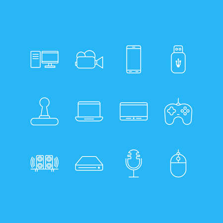 Vector illustration of 12 gadget icons line style. Editable set of mouse, flash drive, microphone and other icon elements.