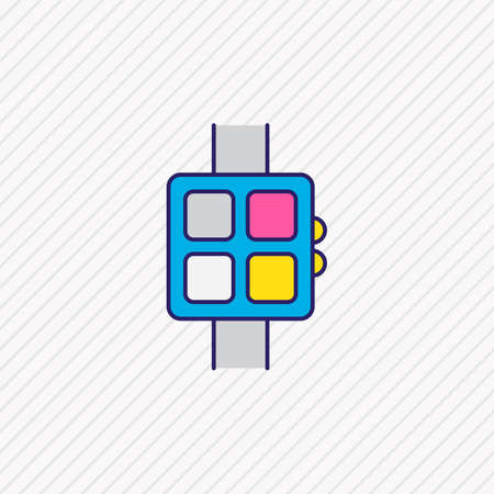 Vector illustration of smart watch icon colored line. Beautiful notebook element also can be used as wearable icon element.