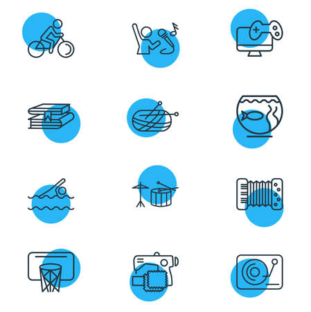 illustration of 12 entertainment icons line style. Editable set of accordion, knitting, sewing and other icon elements. Stock Photo