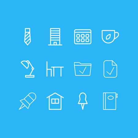 illustration of 12 bureau icons line style. Editable set of calendar, tea, pushpin and other icon elements.