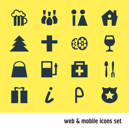 illustration of 16 travel icons. Editable set of cinema, shopping bag, restroom and other icon elements.