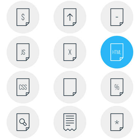 illustration of 12 page icons line style. Editable set of remove, upload, css and other icon elements.