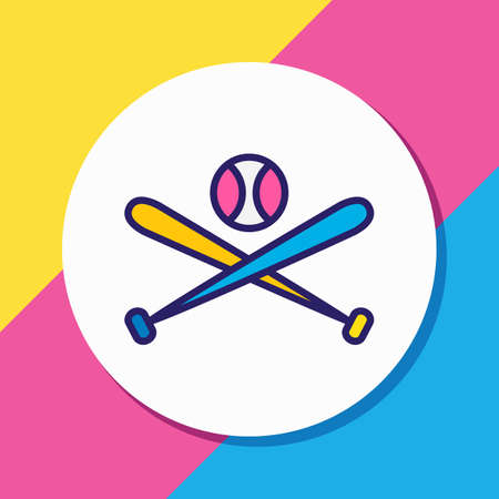 illustration of baseball icon colored line. Beautiful hobby element also can be used as batting icon element.