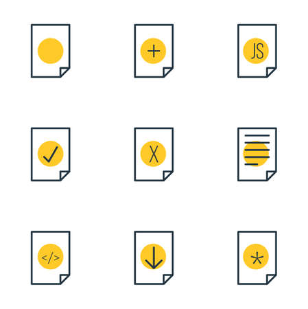 illustration of 9 paper icons line style. Editable set of delete, correct, important and other icon elements.