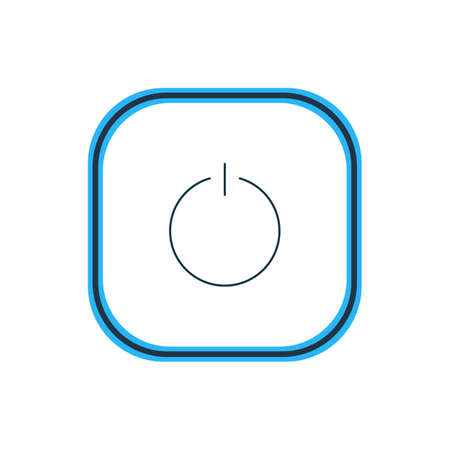 illustration of power button icon line. Beautiful user element also can be used as switch off icon element.