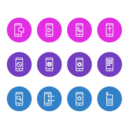 illustration of 12 telephone icons line style. Editable set of star, apps, block and other icon elements. Фото со стока